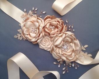 Wedding Sash, Champagne Sash, Bridal Sash, Bridal Belt, Wedding belt, Flower sash, Bridal Dress Belt, Bridal Flower Sash