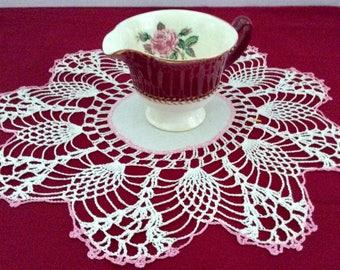 Pair Vintage Intricate Crochet Doilies Pink Trim