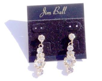 Jim Ball Rhinestone Pierced EarringsBejeweled