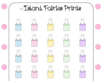 Nail polish manicure pedicure planner stickers A3
