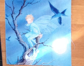 Craft Panel /Patch/ 20cm by 20cm/ Cotton /linen / Fairy/ Tree/Elf/bird/moonlight/quilting panel/childs' fabric/child's patch