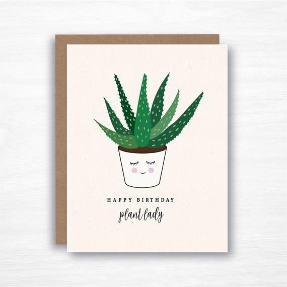 Happy Birthday Plant Lady Friend Birthday Card Succulent