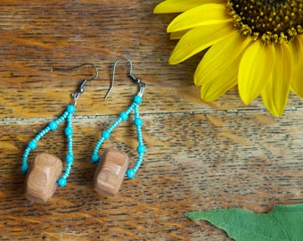 Teardrop Hoops With Recycled Wooden Beads + Turquoise Rounds and Turquoise colored seed beads