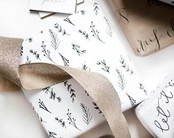 Greenery / Calligraphy Gift Wrap /