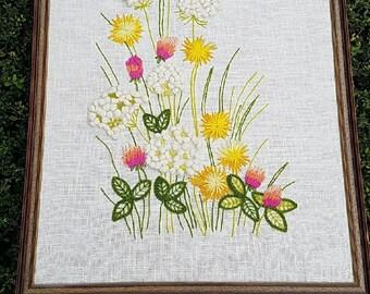 Large vintage floral crewel, flower crewel, flower picture