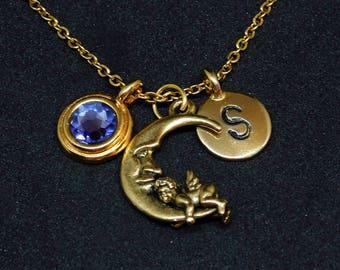 Golden Angel in Moon necklace, swarovski birthstone, initial necklace, birthstone necklace