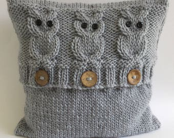 READY KNIT 3 Wise Owls cushion cover - envelope button opening - superchunky/superbulky yarn -100% wool