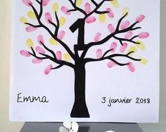 "Fingerprint tree ""1 year"" birthday, wedding anniversary..."