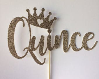 Quince cake topper with crown, glitter cake topper, any colors, birthday,