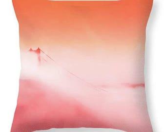 Golden Gate Bridge Pillow,San Francisco Throw Pillows,Golden Gate,San Francisco,Decorative Pillow,Sofa Cushion,Home Decor,Red,Fog,California