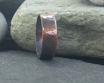 Mens Copper Ring, Rustic Hammered Copper Ring Band For Men, Anniversary Gift For Him, Rural, Mens Copper Gifts, Rustic Accessories for Men