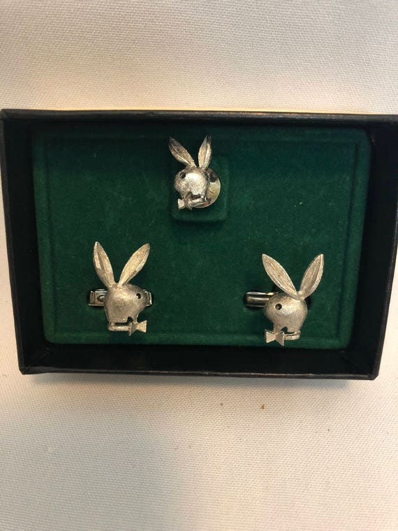 FREE SHIPPING-Playboy Bunny-Cuff links and Tie Tack set