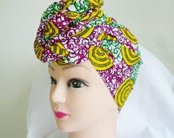 Yellow and Green Swirl Multi Stripes Ankara Head Wrap, DIY head tie, Stylish African head scarf, Fabric hair accessory – Made to Order
