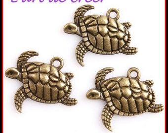6 charms turtle charm bronze 21 x 17 x 3 mm