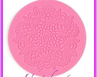 Round lace Silicone mold, new