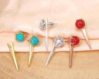 Triangle Gemstone Stud Earrings, Minimalist Earrings, Gemstone Earrings, Gold Stud Earrings, Silver Earrings, Simple Earrings BE365-3