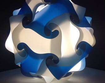 Light Navy Blue and white lamp sphere puzzle