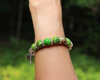 Green jasper bracelet, green imperial jasper bracelet, jasper & sterling silver bracelet, jasper bracelet, stone bracelet, silver bracelet