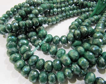 Best Quality Natural Emerald Rondelle Faceted Beads , Mystic AB Coated Far Size Beads 7 to 10mm , Strand 8 inches , Precious Gemstone Beads.