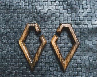 Wood Ear Plug - Geometric - Tribal - Boho - Gypsy - Roots - Ethnic - Travel - Organic - Pachamama - Earth - Rave - SP23 - Pixies - Fairy