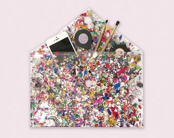 Clear Vinyl Bag, Confetti Purse, Clutch for Women, Flat Purse, Envelope Clutch Bag, Transparent Handbag, Handmade Ladies Bag, Confetti Bag