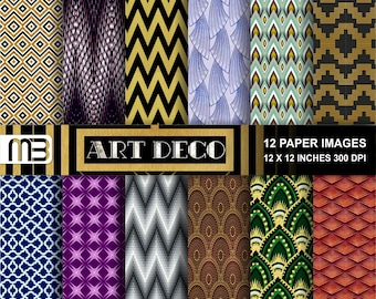 Art Deco digital paper pack - printable papers - Instant download - 12x12 inches papers - for home printing - DIY