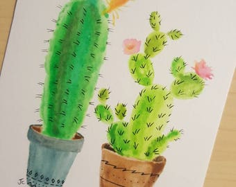Potted Cacti Watercolor Painting