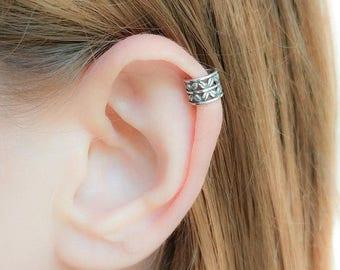 SALE - Ear Cuff Silver-No Piercing Earring-Ear cuff no piercing-Helix Ear Cuff Silver-Boho Ear Cuff-Ear Cuff Earring-Tribal Ear Cuff