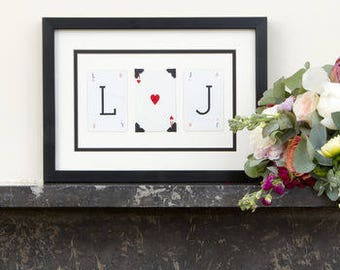 Personalised Couples Initial Wedding Frame by Vintage Playing Cards FREE UK SHIPPING!