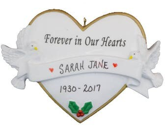 Personalized In Our Hearts Forever Ornament - Forever In Our Hearts Memorial Ornament - Personalized Loving Memory Ornament
