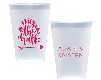 My Other Half Personalized Wedding Shatterproof Wine Cups, Frosted Cup, Wedding Cups,  Wine Cup, Bar Cups, Shower Cups