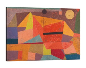 Painting on canvas with wood frame (Framed Canvas) Paul Klee Joyful Mountain Landscape