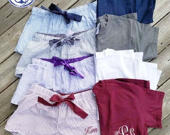 Pocket Tee and sleep shorts set,  monogrammed pajama set , Monogrammed Pocket Tee and Boxer Set, Monogrammed bridesmaids gifts