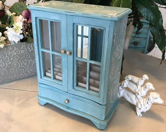 Shabby Chic Jewelry Box / Upcycled Jewelry Armoire / Vintage Painted OOAK Jewelry Box / Jewelry Storage / Jewelry Chest / Womens Gifts