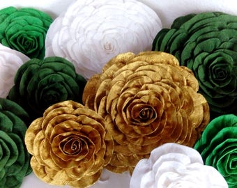 Giant large Paper Flowers green golden white graduation safari baby shower St. Patrick's wedding backdrop wall Glitter gatsby nursery decor