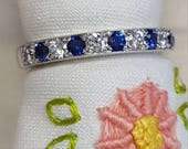 14k white gold custom made Ceylon sapphire and diamond pave set stackable band