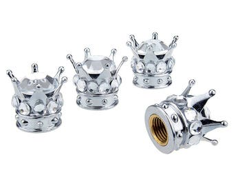 Bling Princess Crown Tire Valve Stem Caps, Rhinestone Crystal Crown For Tire/Wheel Car Decoration Bling Car Accessories, Car Bling For Women