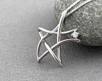 Sterling Silver Star Necklace Sterling Star Pendant Sterling Star Necklace Star Necklace Star Pendant Sterling Silver Star Charm Necklace