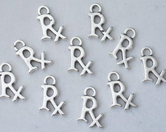 Bulk 50 Pcs Rx Charms Medical Charms Pendants Antique Silver Tone 2 Sided 15x10mm - YD1436
