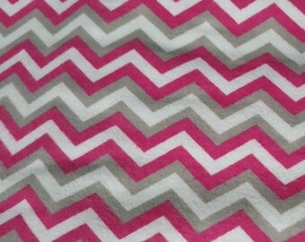 Flannel Chevron Gray, White and Hot Pink Fabric, By the Yard