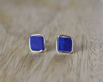 Minimalist Lapis Lazuli and Silver earrings