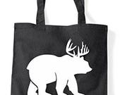 Beer Question Mark Bear Cross Deer Cute Funny Animal Themed Tote Bag Shopper