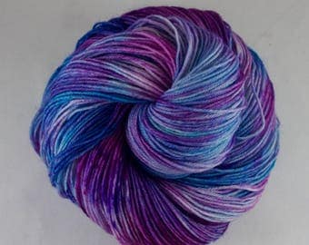 Hand Dyed Sock Yarn, hand dyed wool, variegated sock yarn, speckle sock yarn, nylon sock yarn, pink, purple, blue