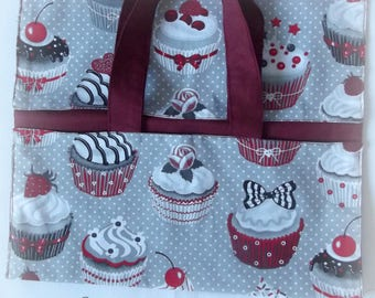 bag has printed pie cupcake, lined with Burgundy fabric