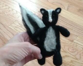 Newborn skunk stuffy, skunk prop felted skunk photography prop, skunk lovey baby skunk