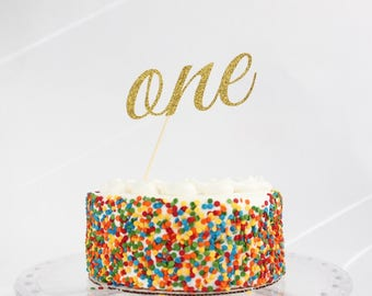 ONE Gold Glitter Cake Topper, First Birthday, Smash the Cake, Party Deco, Centerpiece, Celebrate, Smash Cake, 1, Child, OverTheTopCakeTopper