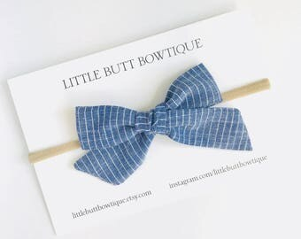 Striped Chambray // Hand Tied, Schoolgirl, Fabric Bow