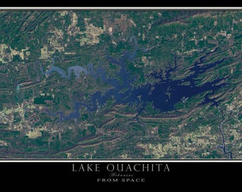 Lake Ouachita Arkansas Satellite Poster Map