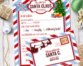 Christmas letter etsy letter to santa kit santa letter kit with envelope template letter to santa spiritdancerdesigns Image collections