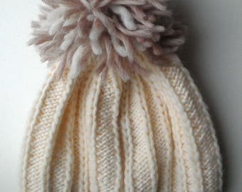 knitted hat with pompom 56-58-60 cm